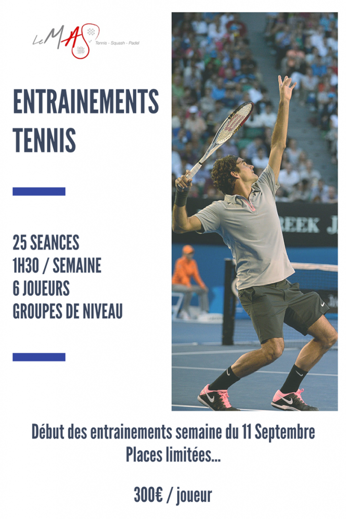 Entrainements collectifs de tennis adultes 2017