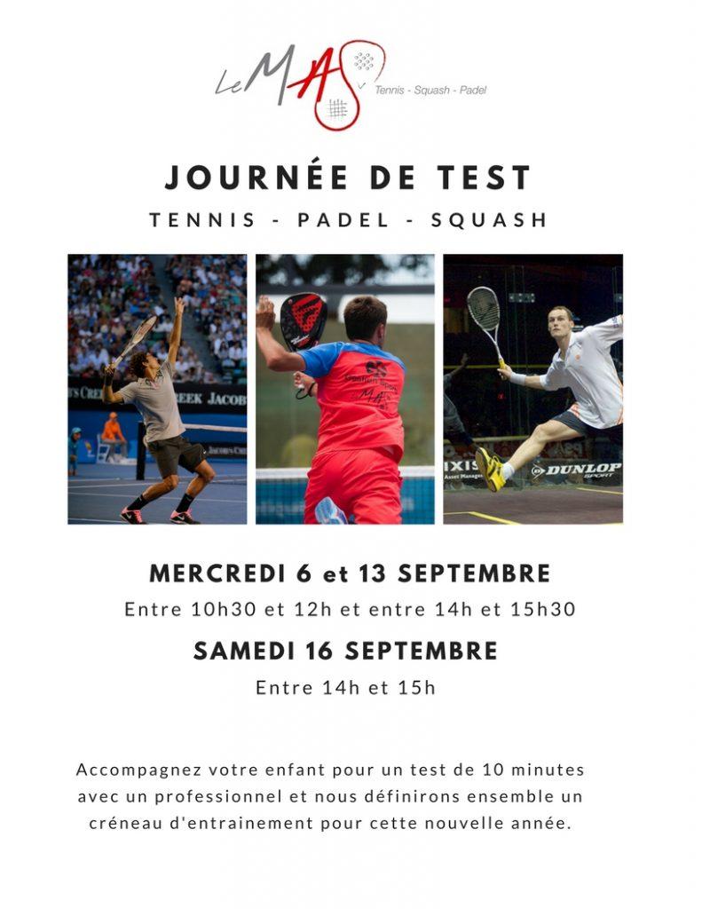 Journée des tests 2017 Tennis Squash Padel Perpignan