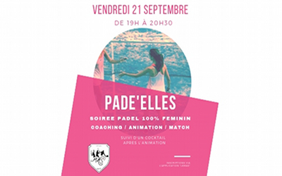 Animation PAD'ELLES Vendredi 21 Septembre 2018